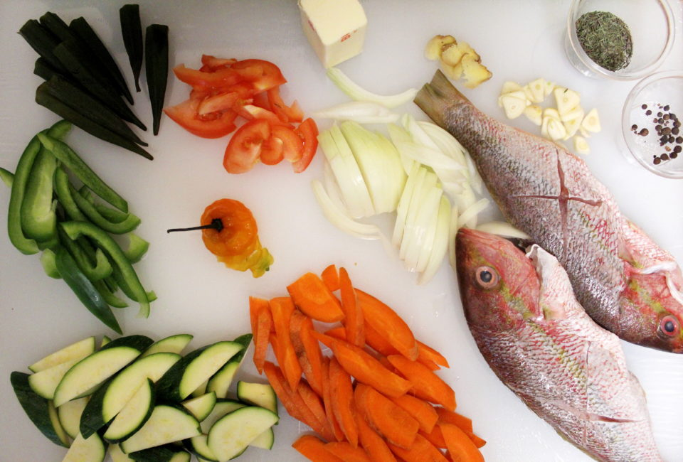 steamed fish mise en place